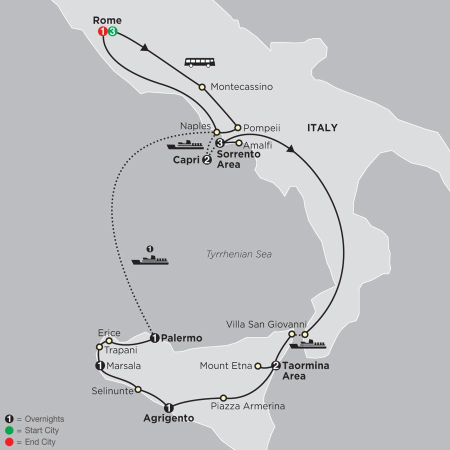 Rome, Sorrento & Capri with Sicily map