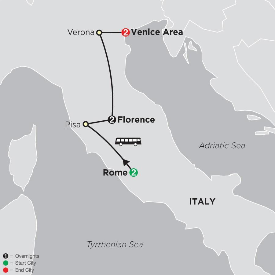 Rome, Florence, Venice map