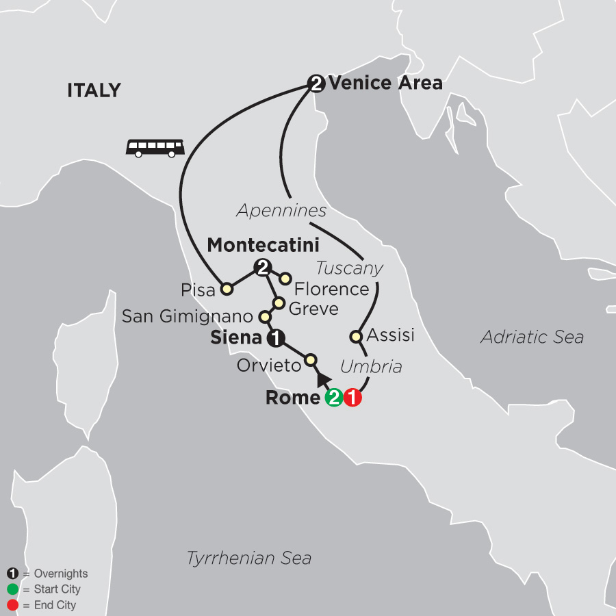 The Splendors of Italy map