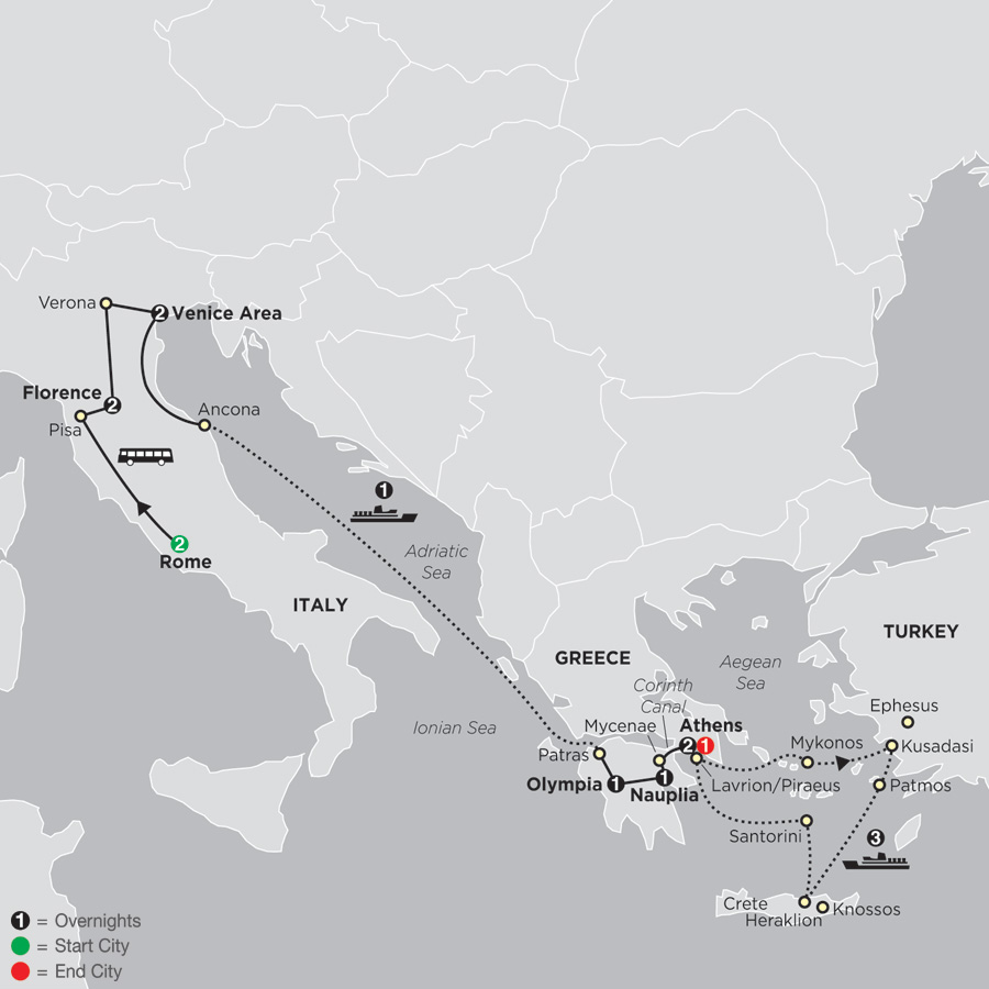 Italy & Greece with Aegean Cruise in Outside Stateroom map