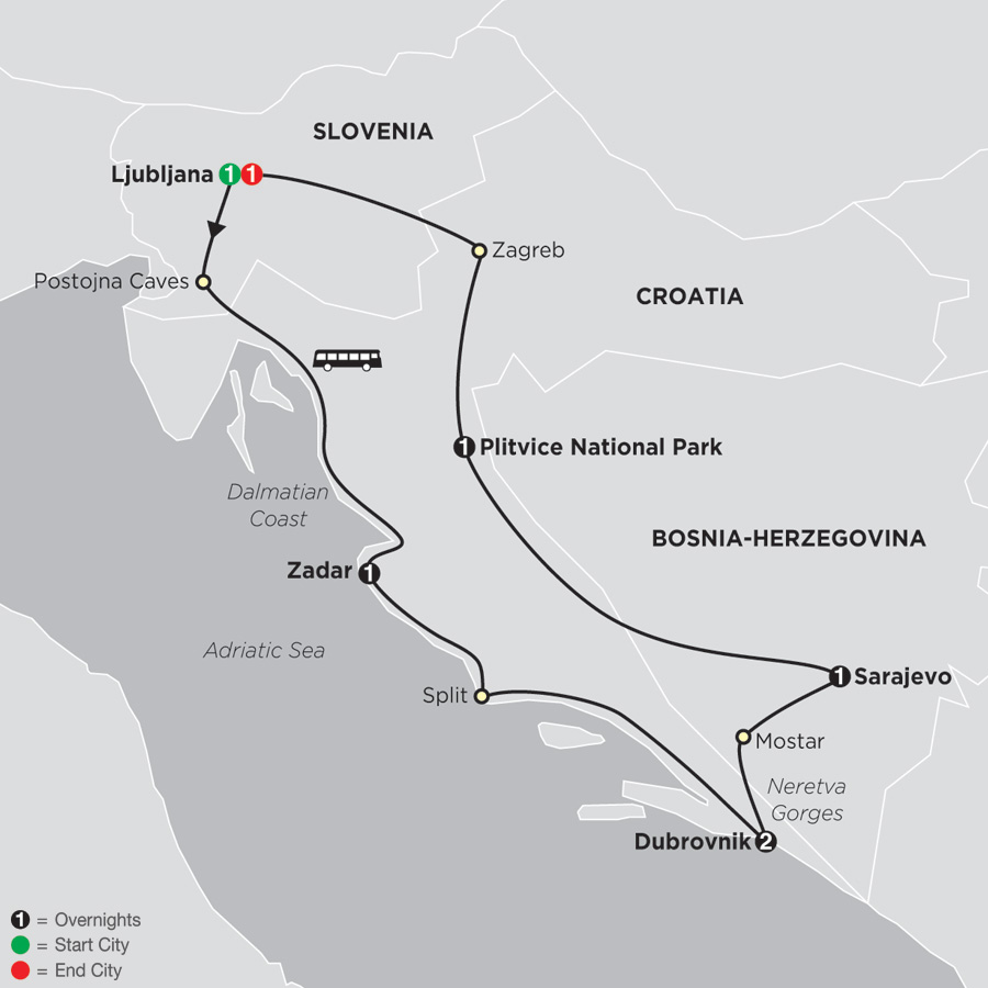 Scenic Slovenia & Croatia map