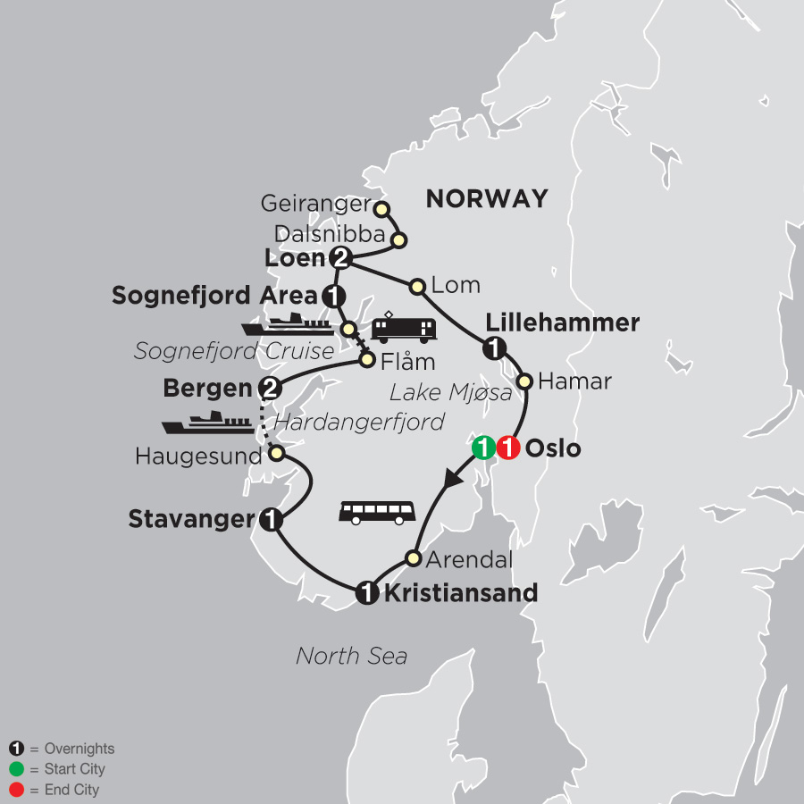 Norwegian Fjords map