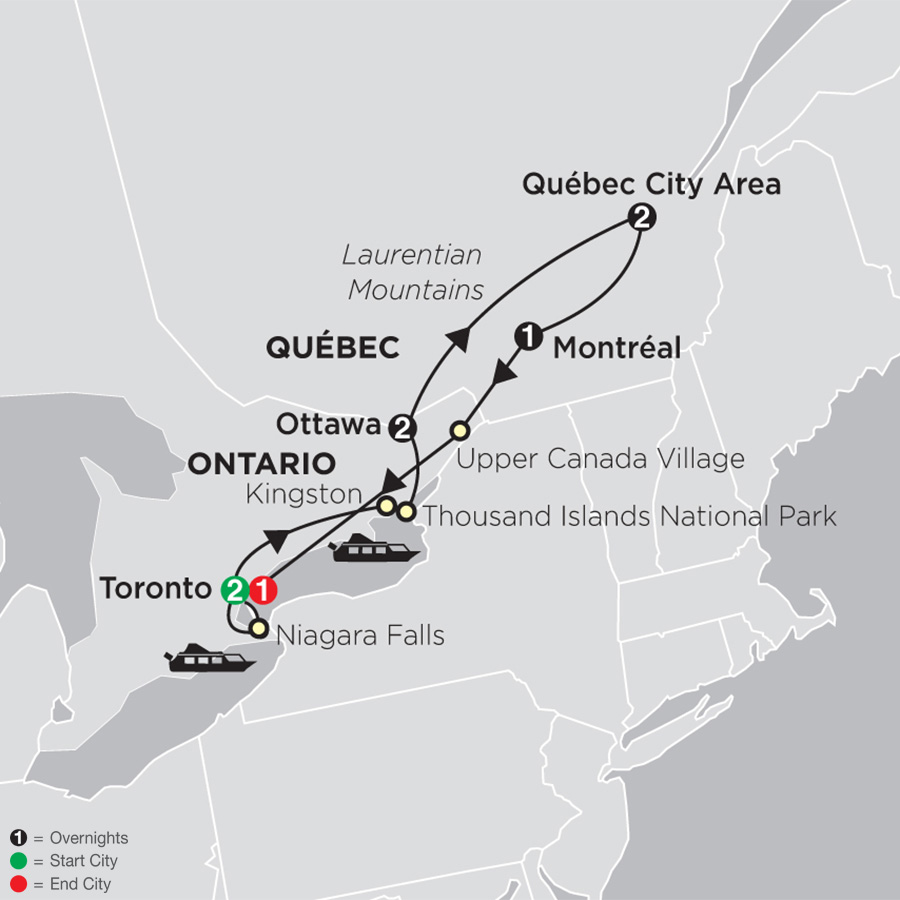 Ontario & French Canada with Stay in Toronto map