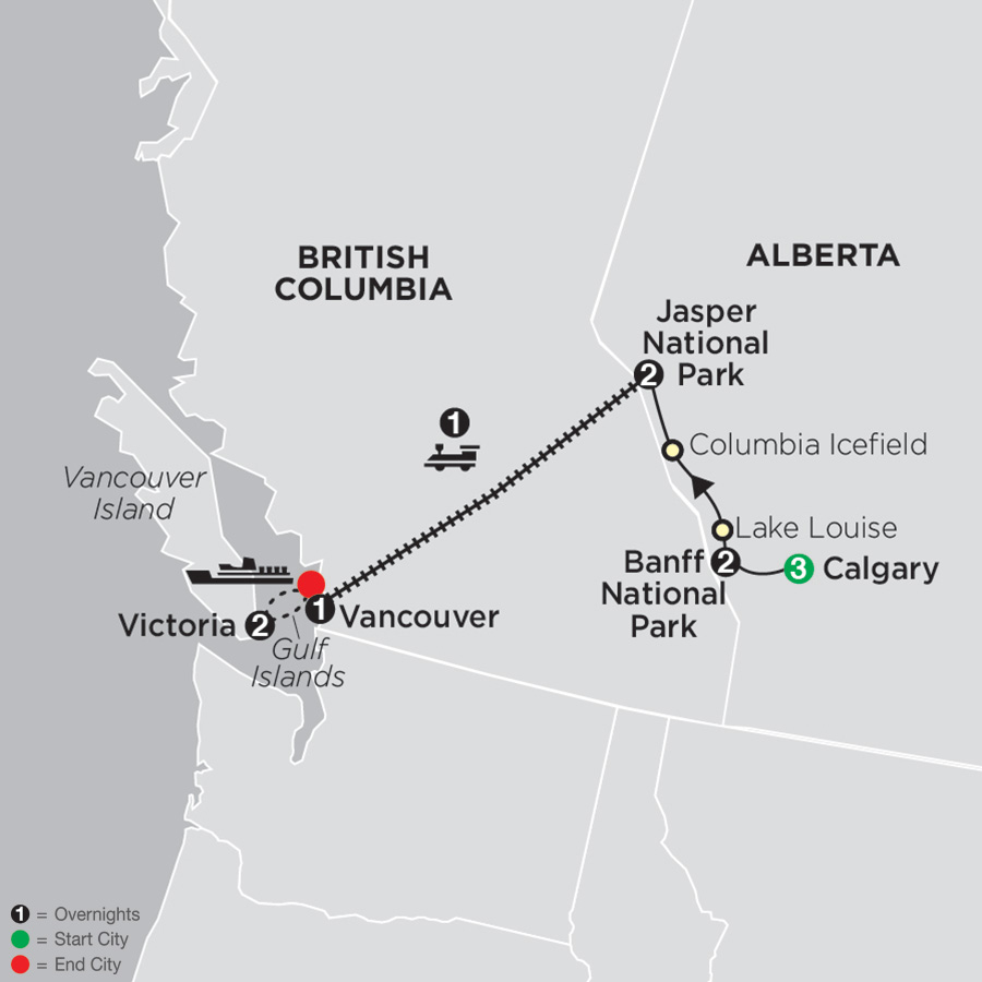 VIA Rail and the Canadian Rockies with Calgary Stampede map