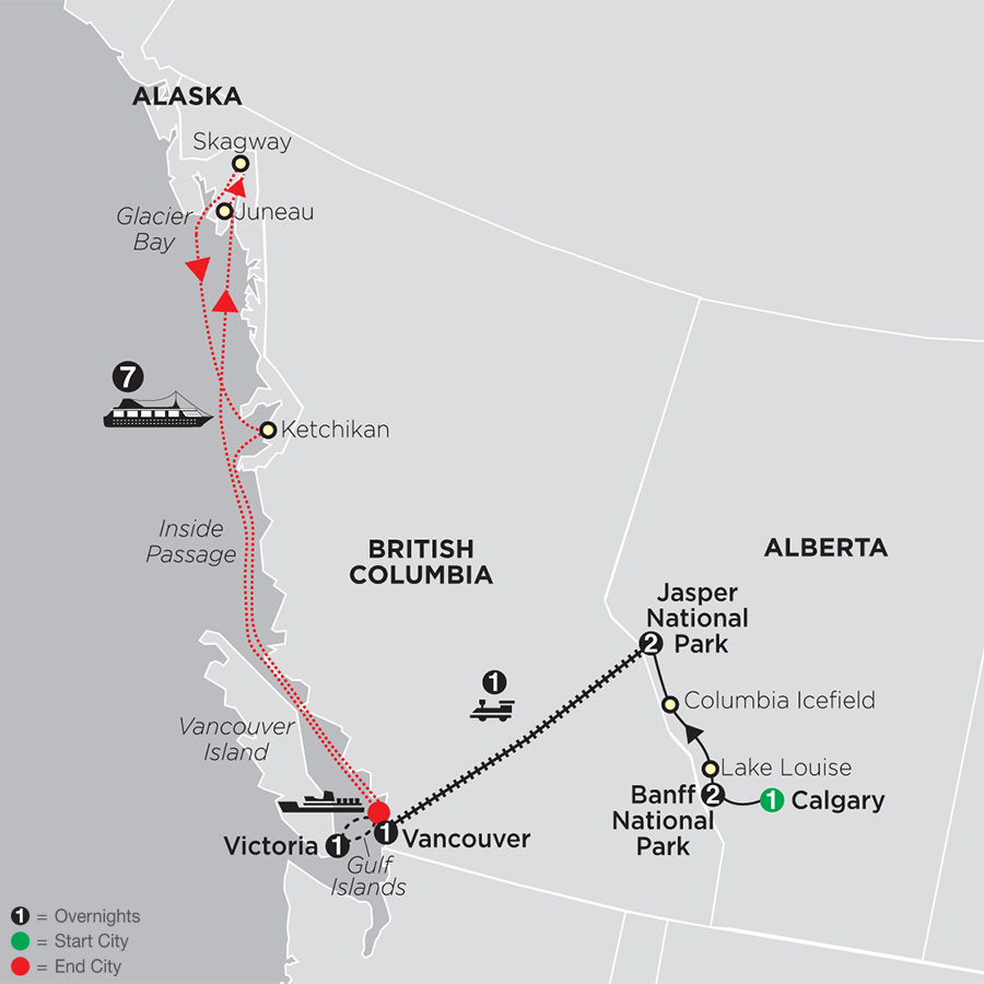VIA Rail and the Canadian Rockies with Alaska Cruise map