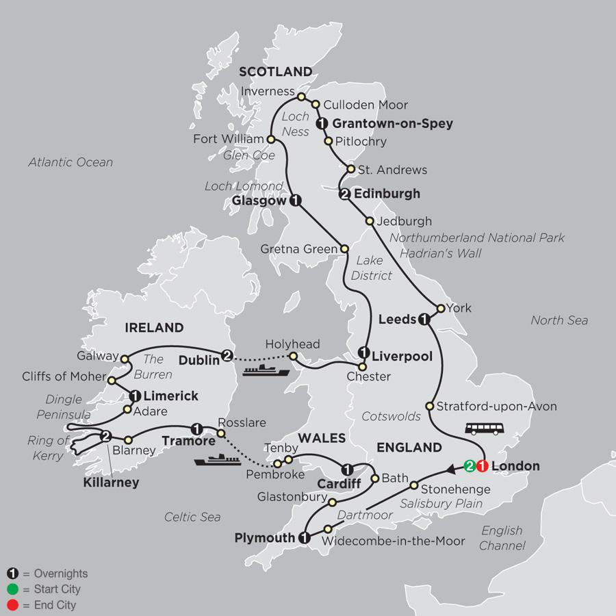 Grand Tour of Britain & Ireland map