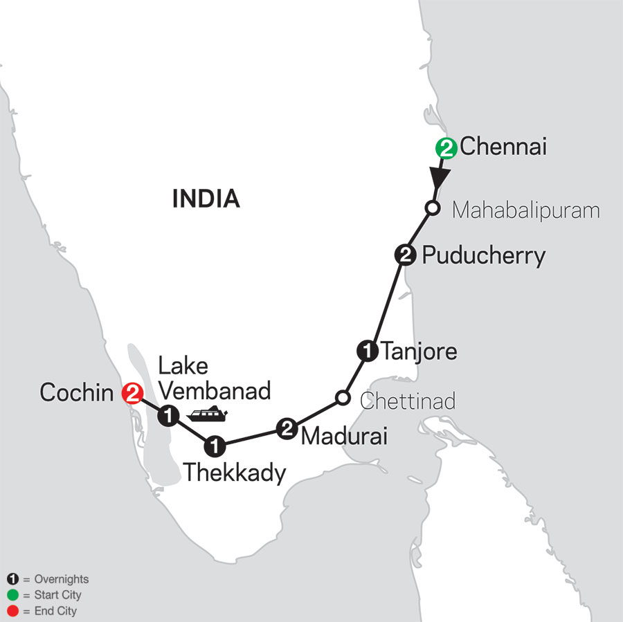 Discover Southern India & Kerala map