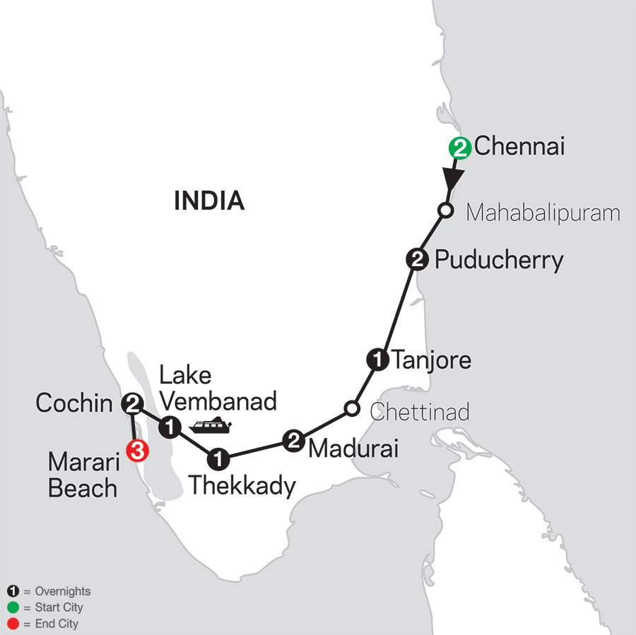 Discover Southern India & Kerala with Marari Beach map