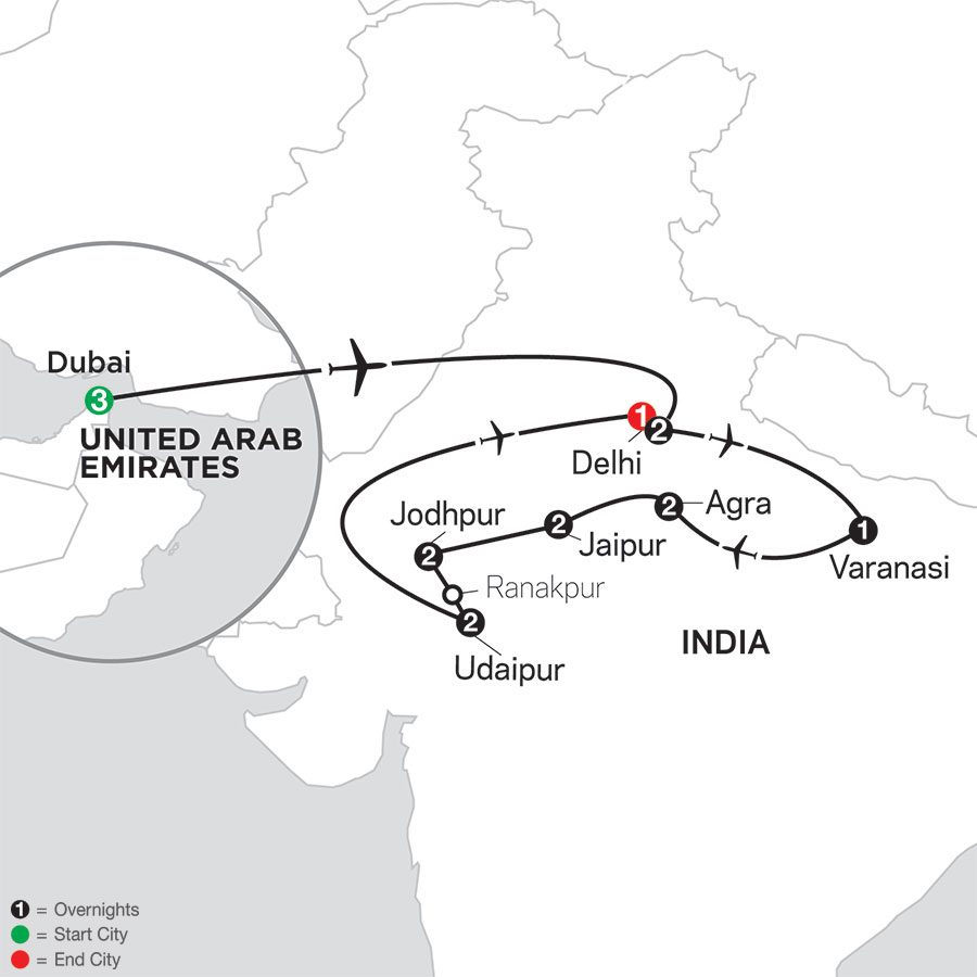 Highlights of Northern India with Dubai map