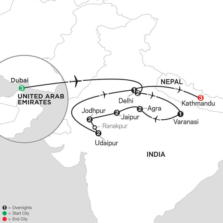 Highlights of Northern India with Dubai & Kathmandu map