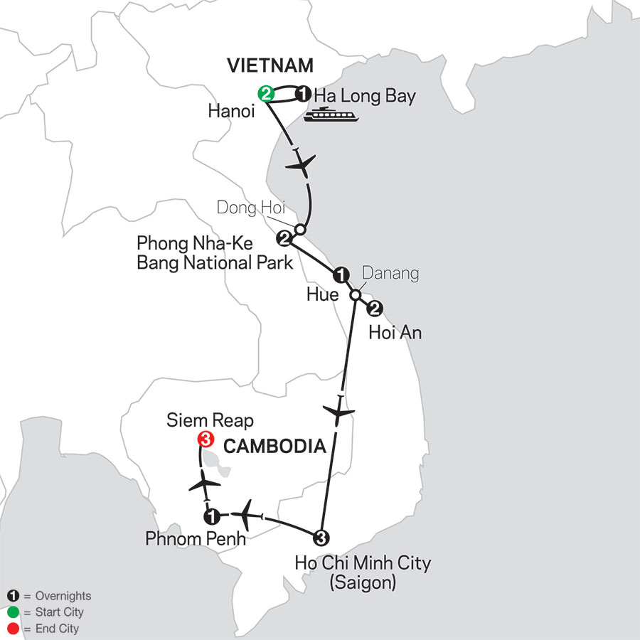 Simply Vietnam with Cambodia map