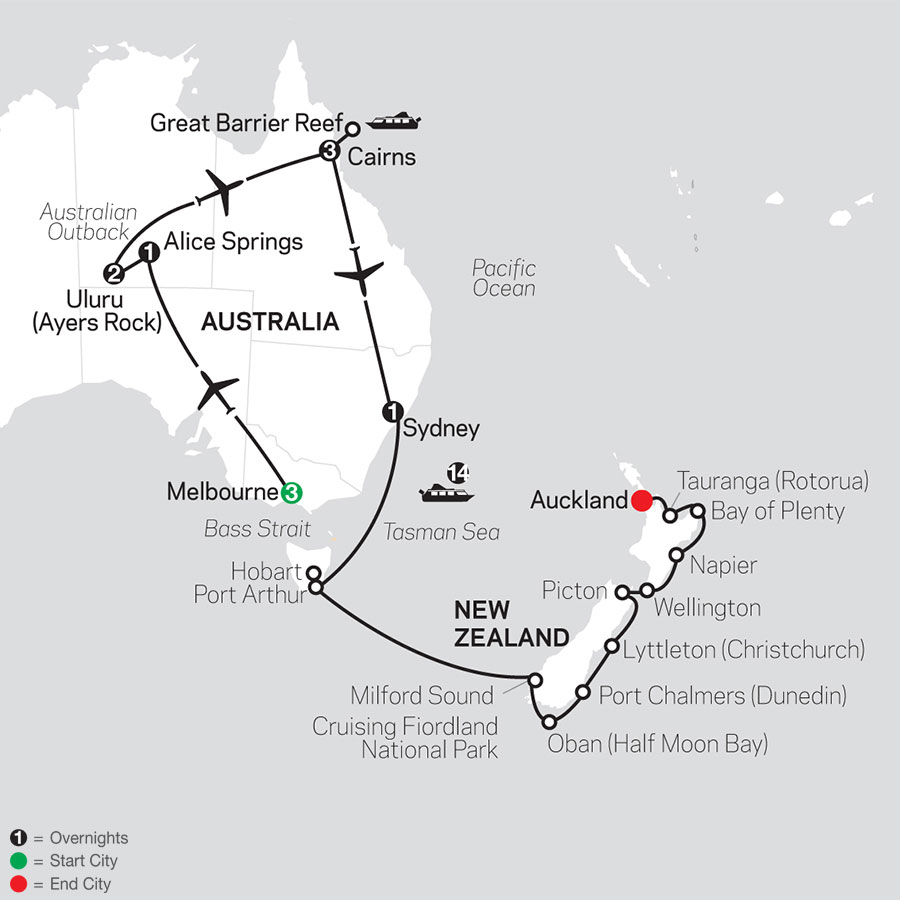Highlights of Australia with New Zealand Cruise on February 5, 2020 map
