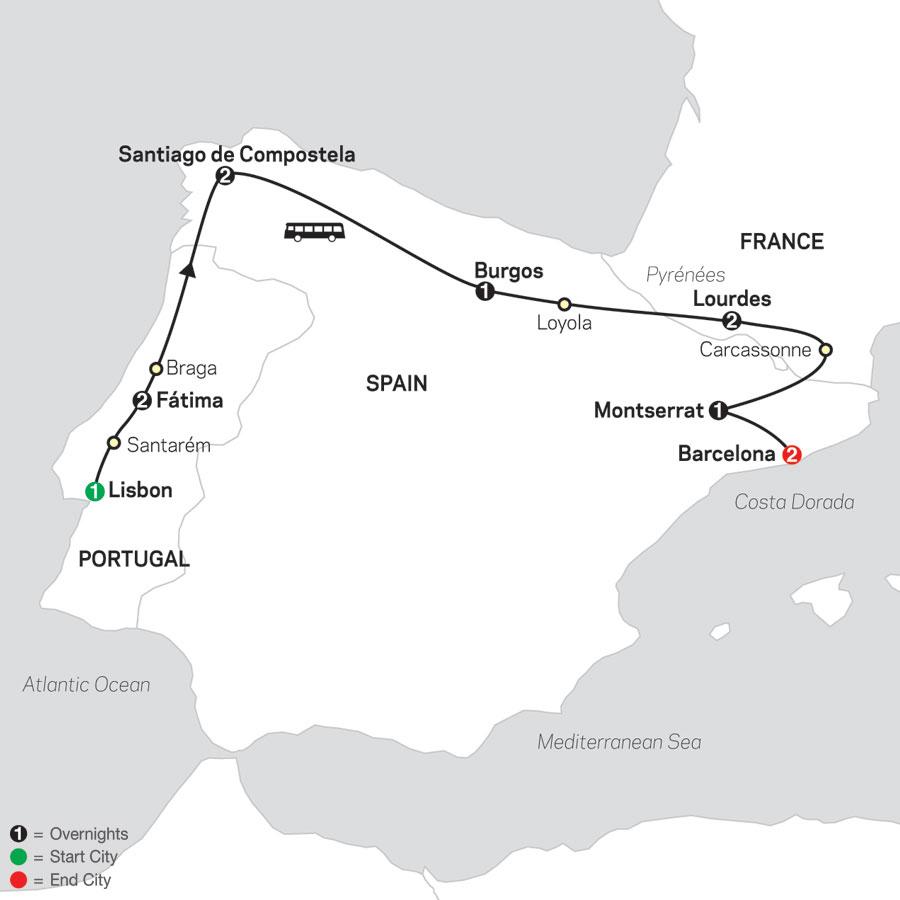 Fátima, Lourdes & Shrines of Spain – Faith-Based Travel map