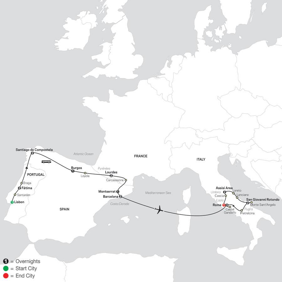 Spiritual Highlights of Iberia, Lourdes & Italy - Faith-Based Travel map