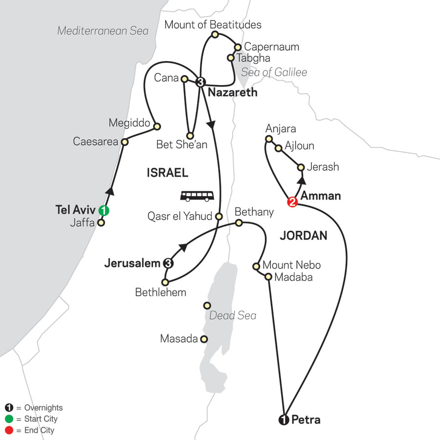 Holy Land Discovery with Jordan - Faith-Based Travel – Catholic Itinerary map