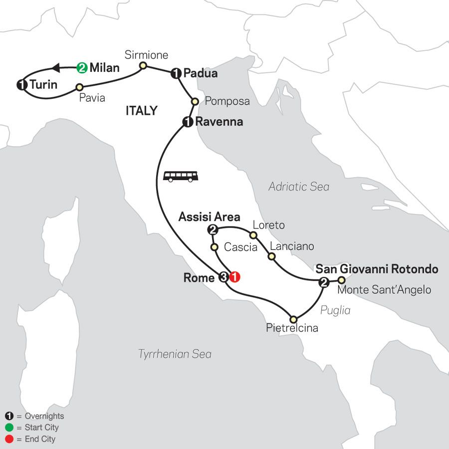 Shrines of Italy - Faith-Based Travel map