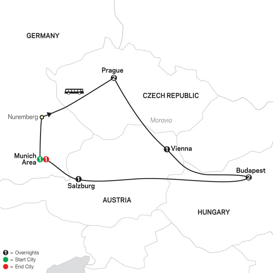 Prague, Vienna & Budapest map
