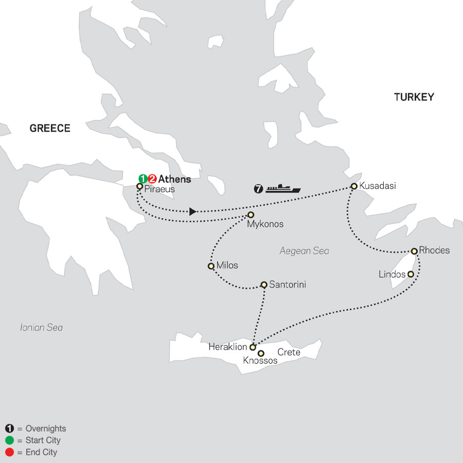 Athens & 7 Night Idyllic Aegean Islands Cruise in Outside Stateroom map
