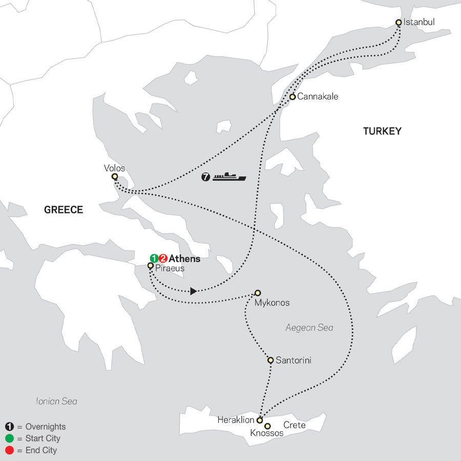 Athens & 7 Night Eclectic Aegean Islands Cruise in Outside Stateroom map