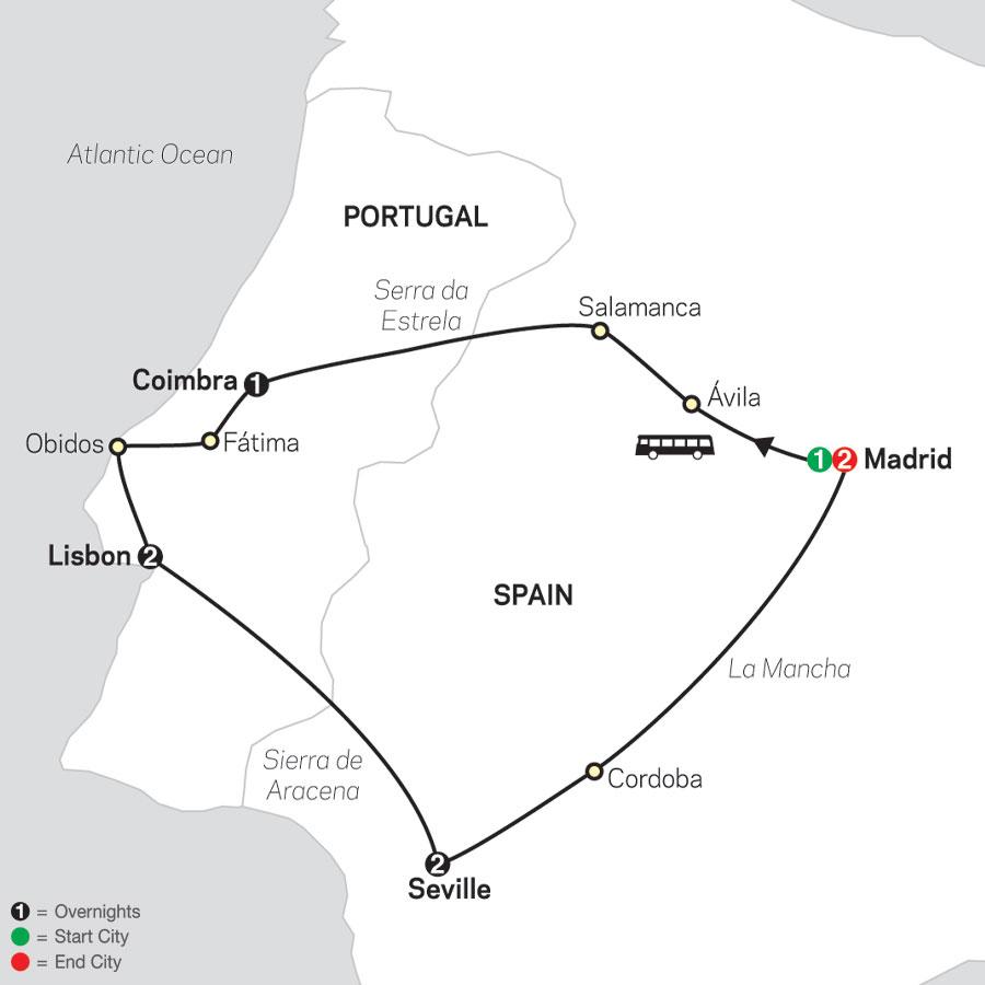 Lisbon, Seville & Madrid map