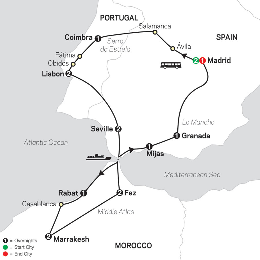 Spain, Portugal & Morocco map