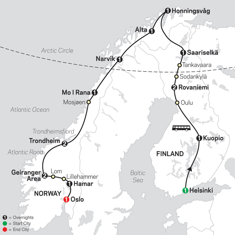 Northern Highlights & the Arctic Circle map