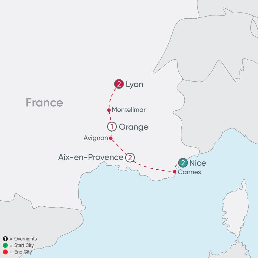 Nice to Lyon Explorer map