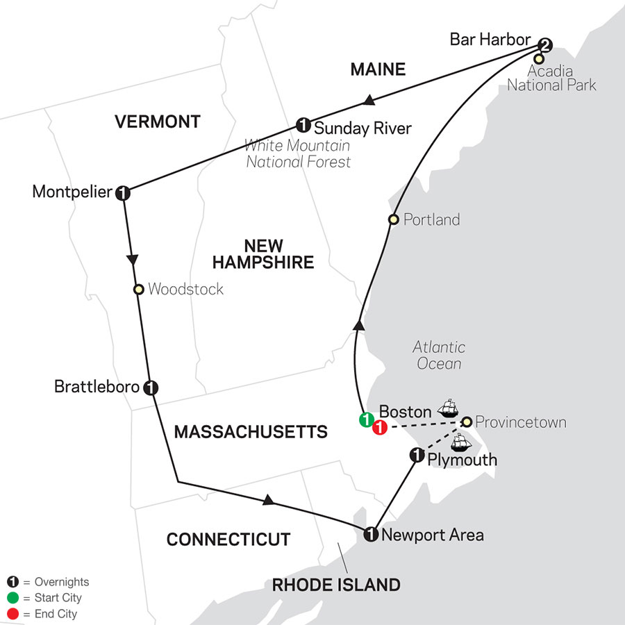 Classic New England with 400th Mayflower Sailing map