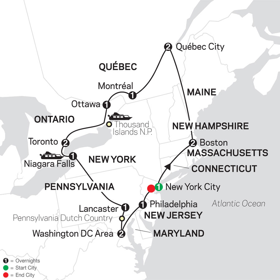 Map Of New York To Quebec Canada.Eastern Us Canada Grand Vacation