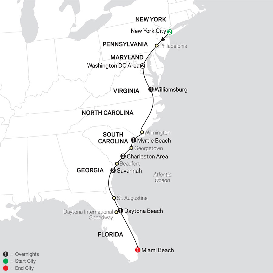 Exploring the Eastern Seaboard map