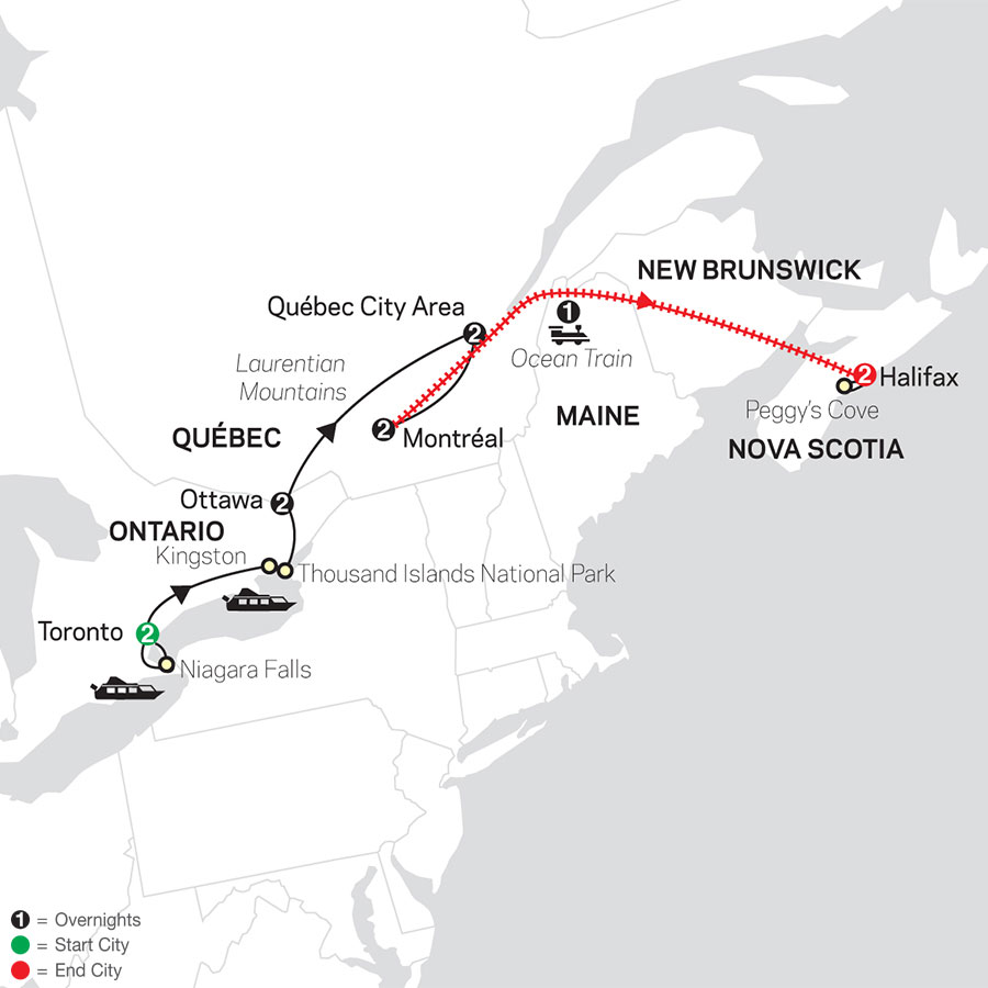 Ontario & French Canada with Ocean Train to Halifax map