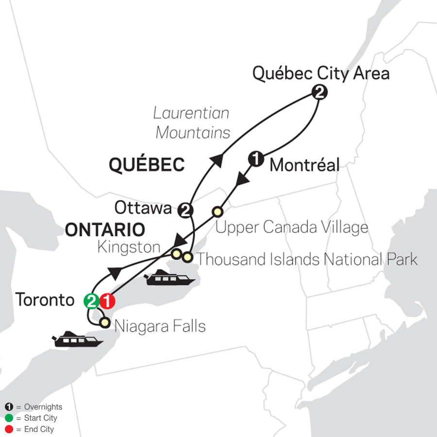 Ontario & French Canada with Extended Stay in Toronto map