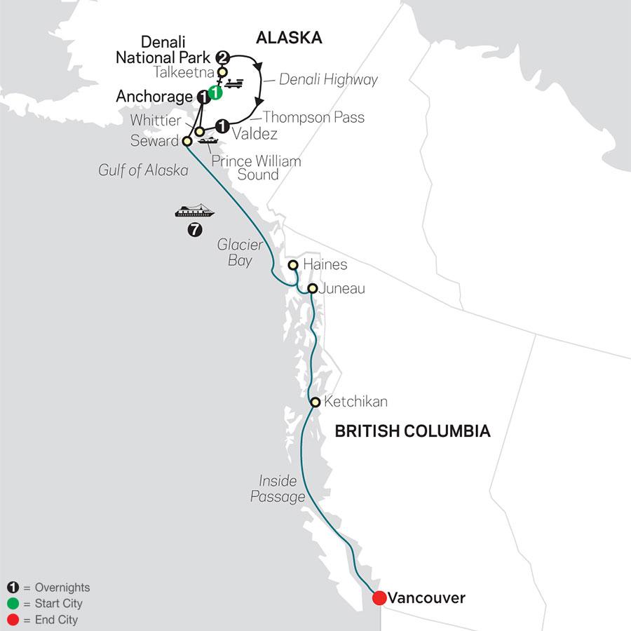 Grand Alaskan Adventure with Alaska Cruise map