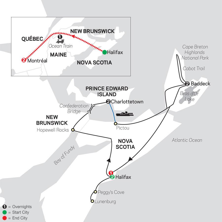 Atlantic Canada's Coastal Wonders with Ocean train to Montreal map