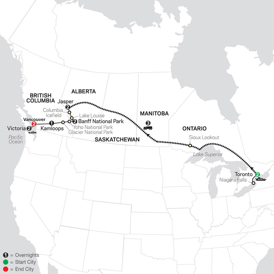 Canadian Train Odyssey map