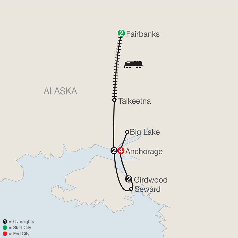 Alaska's Iditarod with Fairbanks map