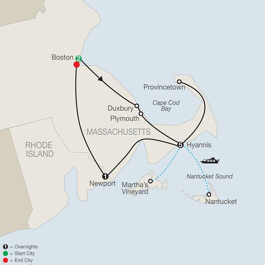 Cape Cod & the Islands 400th Mayflower Anniversary map