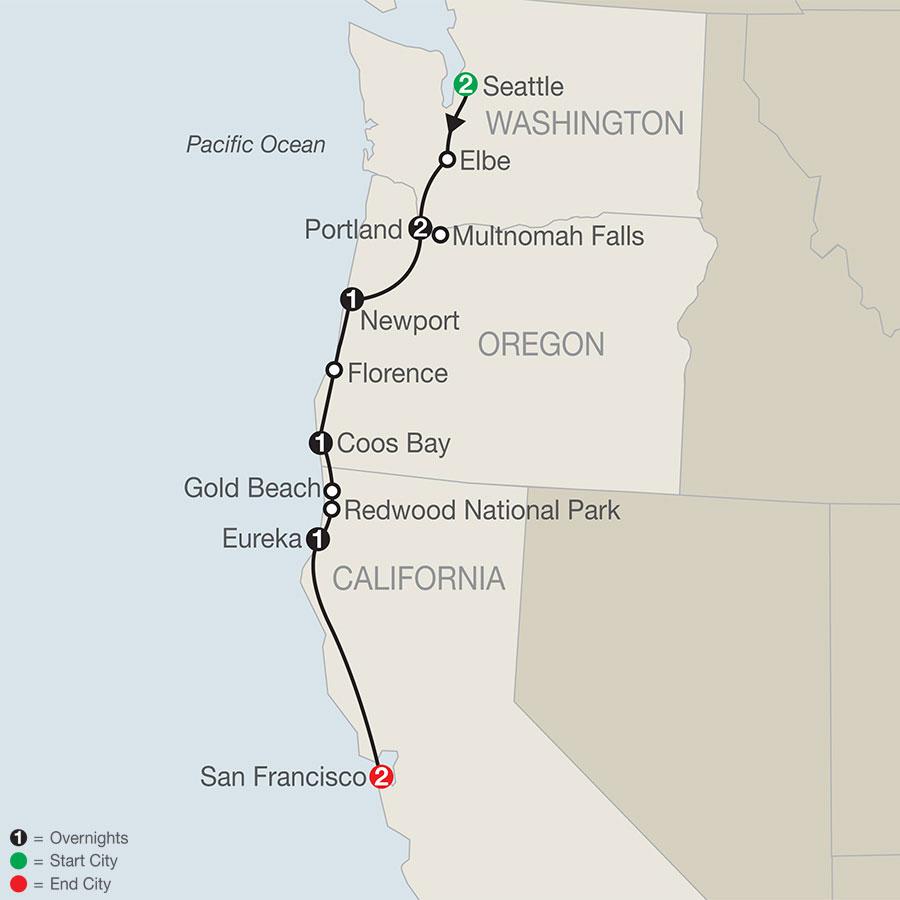 Pacific Coast Adventure with Portland Rose Festival map