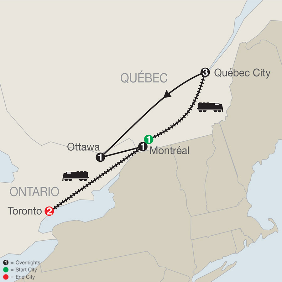 Québec Winter Carnival with Toronto map