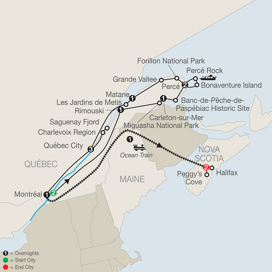 Quebec in Depth with the Gaspe Peninsula & Ocean Train to Halifax