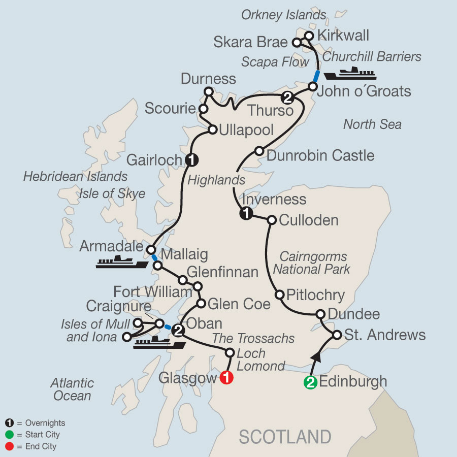Scottish Highland Fling map