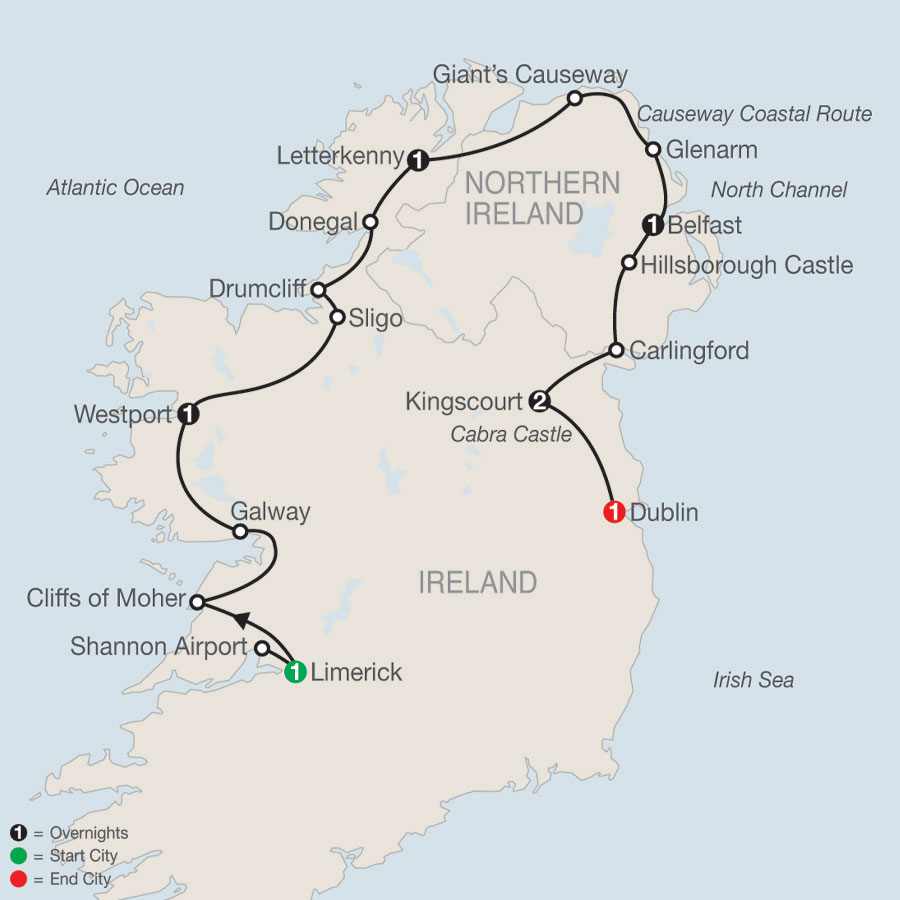 Irish Manors and Castles map