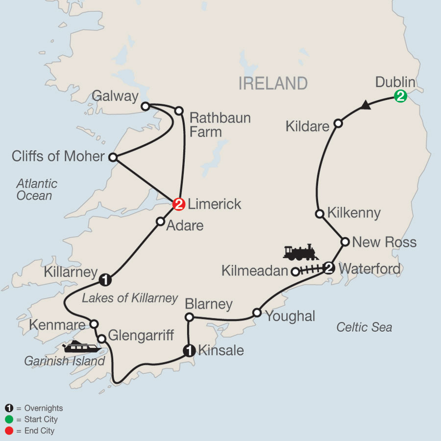 From Ireland's Ancient East to the Wild Atlantic Way map