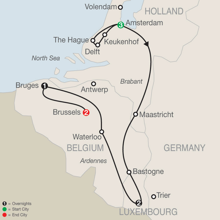 Holland, Luxembourg & Belgium map