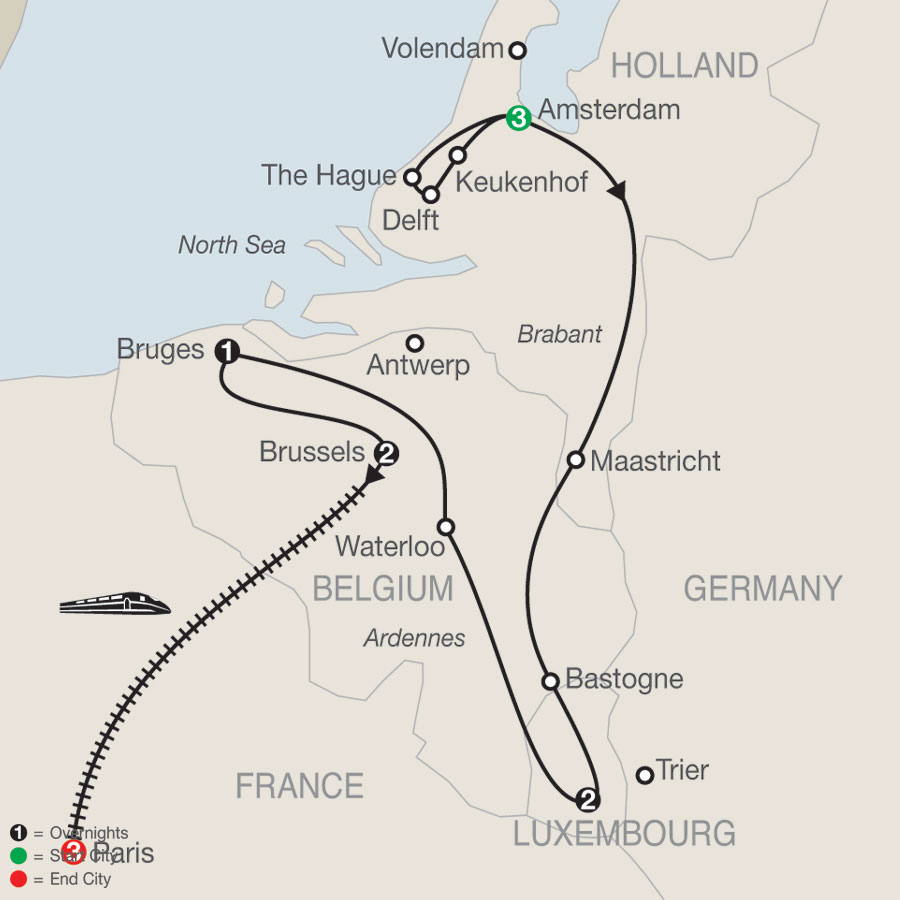 Holland, Luxembourg & Belgium with Paris