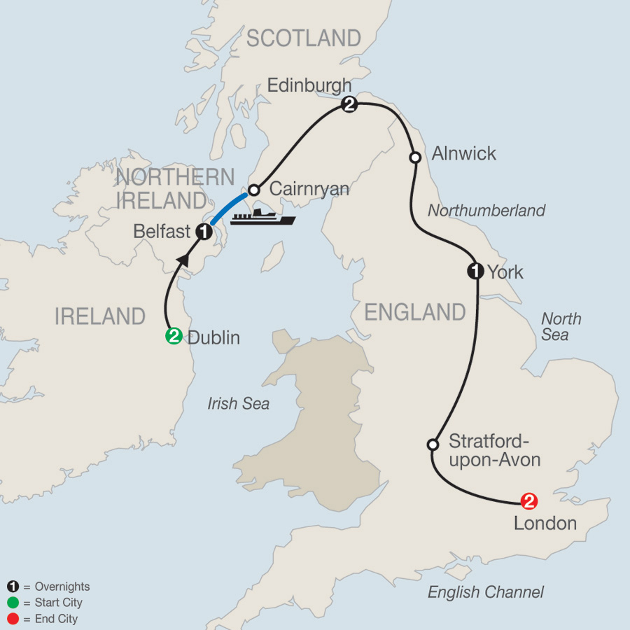 Ireland & Britain Escape map