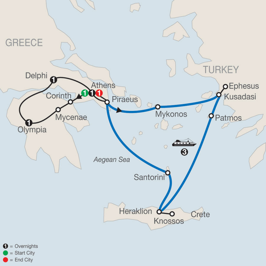Highlights of Greece Escape plus 3-night Iconic Aegean Cruise map