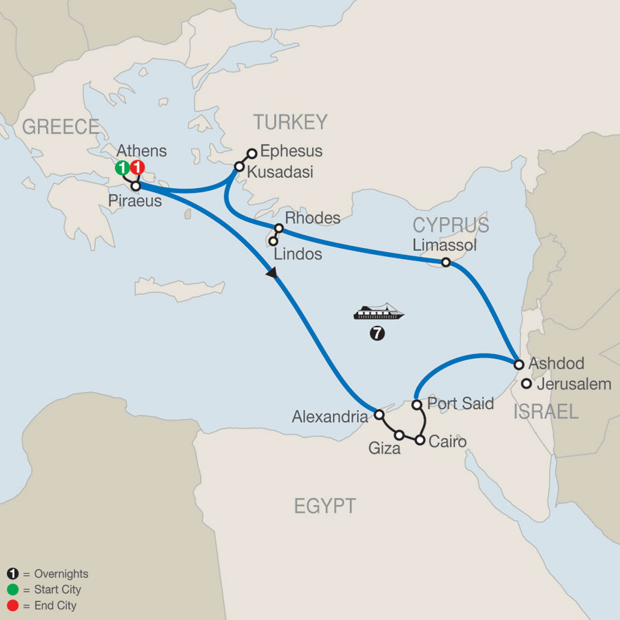 Athens Escape plus 7- night 3 Continents Cruise map
