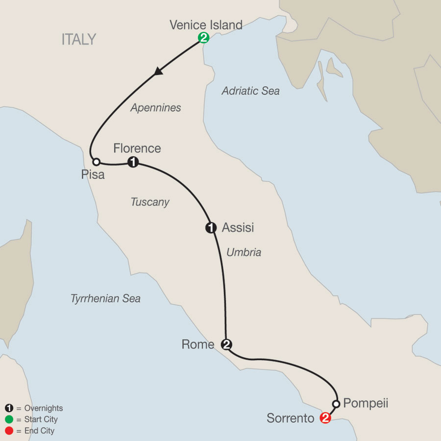 Bella Italia Escape with Sorrento map