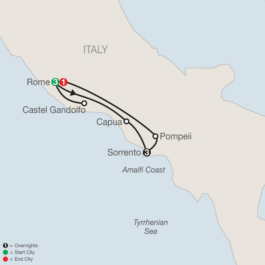 Rome & Sorrento Escape map